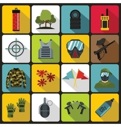 Paintball icons set flat style vector