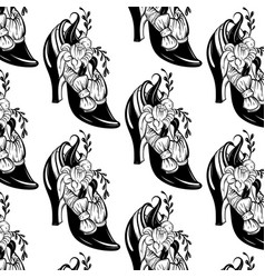 Pattern with woman shoe with flowers and bow vector