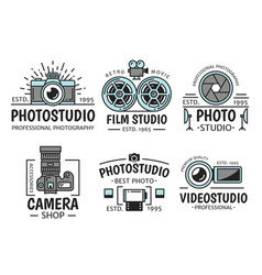 Photography and retro film studio icons vector