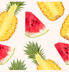 pineapple and watermelon seamless vector image