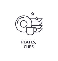 Plates cups line icon outline sign linear vector