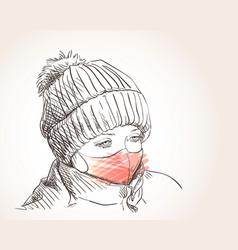Preteen girl in face mask for coronavirus vector