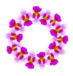 purple vanda miss joaquim orchid wreath vector image