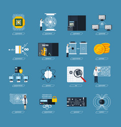 Quantum computing flat icons vector