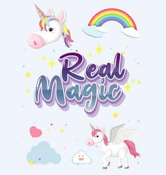 Real magic logo with cute unicorn vector
