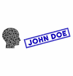Rectangle collage human head with grunge john doe vector