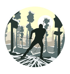 round cartoon skier in forest vector image