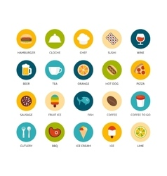 Round icons thin flat design modern line stroke vector image