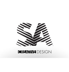 Sa s a lines letter design with creative elegant vector