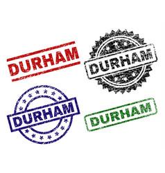 Scratched textured durham seal stamps vector