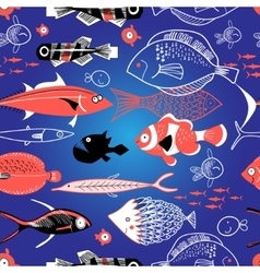 Seamless pattern of bright fish vector image