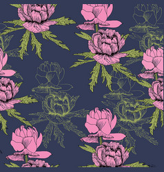 seamless pattern pink peonies with green leaves vector image