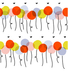 seamless pattern with cute multicolored balloons vector image