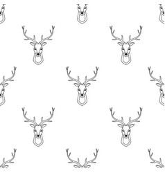 seamless pattern with deer head vector image