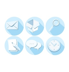 set business icons letter box magnifying glass vector image