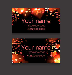 set of business cards with sparks and hearts on a vector image