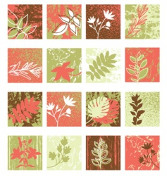 set of grunge floral icon vector image
