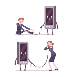 Set of man and woman is slaved by smartphone vector
