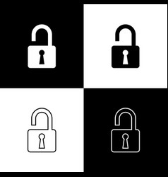 set open padlock icons isolated on black and white vector image
