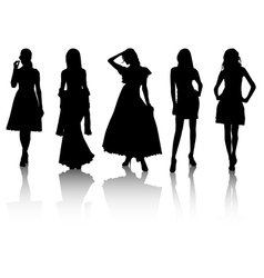 silhouette beauty vector image