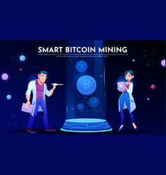 smart bitcoin mining landing page scientists vector image