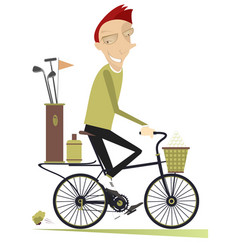 Smiling man rides the bike and goes to play golf i vector