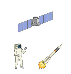 Space technology cartoon icons in set collection vector