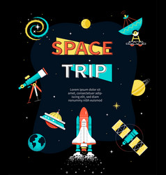 space trip - colorful flat design style web banner vector image