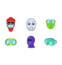 Sport mask icon set cartoon style vector
