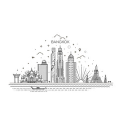 thailand and attractions to bangkok landmarks vector image