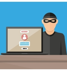 Thief hacker stealing passwords from laptop vector