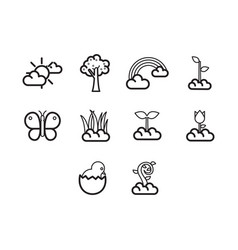 Thin line spring season icon set vector