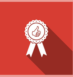 Thumbs up on medal badge with ribbons icon vector