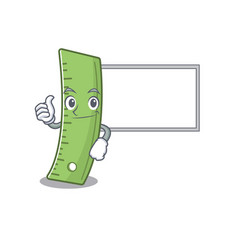 Thumbs up ruler cartoon design with board vector