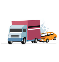 Traffic collision lorry and car accident on vector