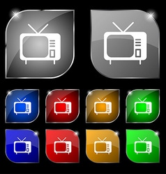 Tv icon sign Set of ten colorful buttons with vector