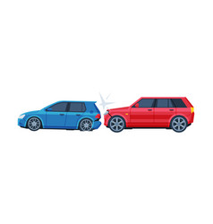 Two cars involved in car wreck auto accident flat vector