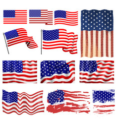 usa flags template different style inedpendense vector image