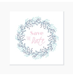 Wedding invitation card with hand drawn floral vector