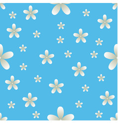 White flowers blue background pattern seamless vector