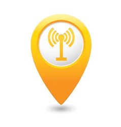 wi fi icon yellow map pointer vector image