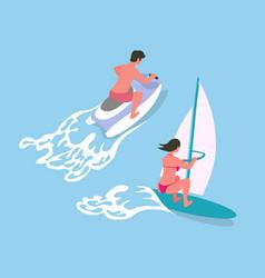 Windsurf and water bike ocean activity vector
