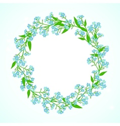 Card with forget me not flowers wreath vector image vector image