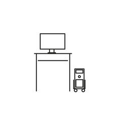 computer desk icon vector image