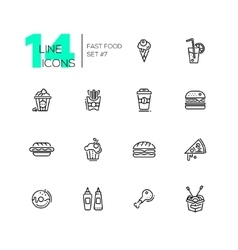 Fast Food Cafe Menu Icons Set vector image vector image