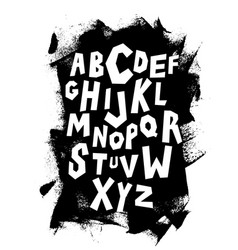 hand lettering font on grungy background alphabet vector image vector image