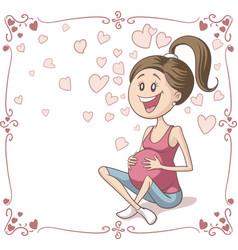 happy pregnant woman cartoon vector image
