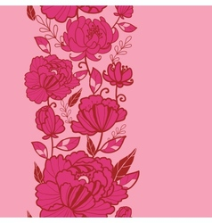Pink flowers and leaves vertical seamless pattern vector image vector image