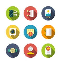 Set flat icons of heating vector image