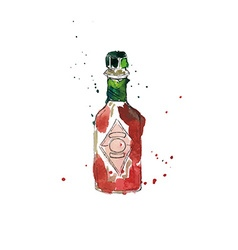 Watercolor Red Bottle vector image vector image